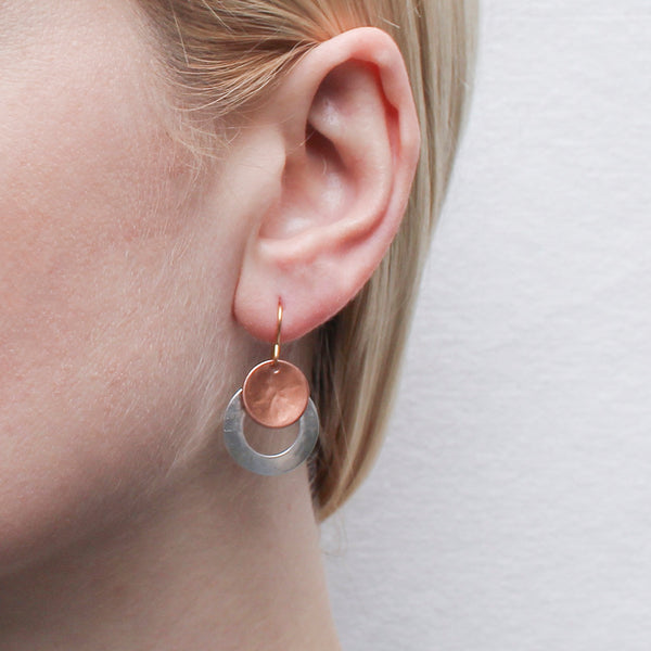 Dished Disc with Ring Wire Earring