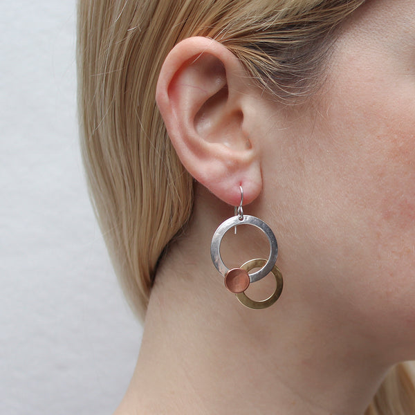 Large Layered Rings with Dished Disc Earring