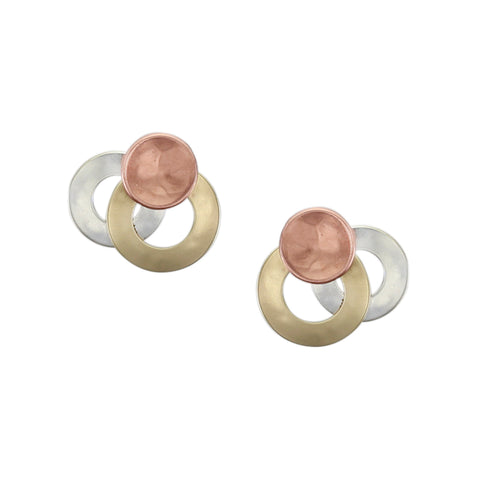 Small Layered Rings with Dished Disc Post Earring