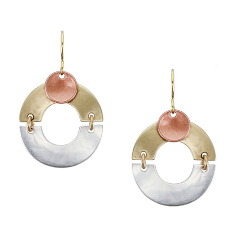 Linked Arches with Small Dished Disc Wire Earring