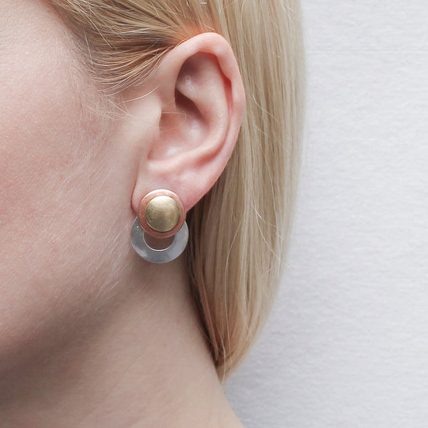 Medium Ring With Stacked Discs Post or Clip Earring