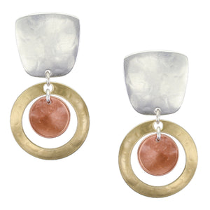 Tapered Square and Ring with Disc Clip or Post Earring