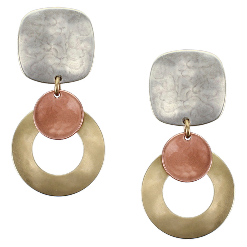 Rounded Square with Wide Ring and Disc Clip or Post Earring