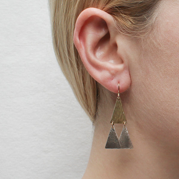 Tiered Textured Triangles Wire Earring