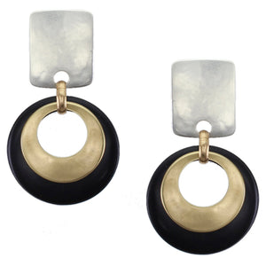 Rounded Rectangle with Layered Cutout Disc in Brass and Black Post or Clip Earring