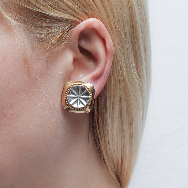 Rounded Patterned Square with Dished Textured Disc Post or Clip Earring
