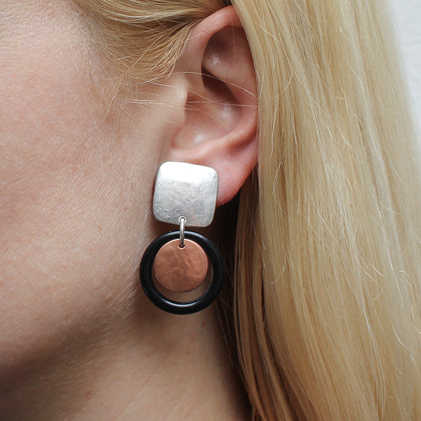 Square with Disc and Black Ring Post or Clip Earring