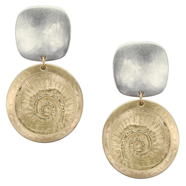Framed Concave Spiral Textured Disc Clip Earrings with Matching Necklace