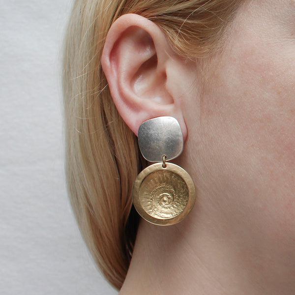 Rounded Square with Framed Concave Spiral Textured Disc Post or Clip Earring