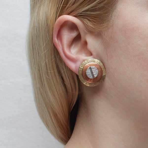 Layered Textured Discs Post or Clip Earring