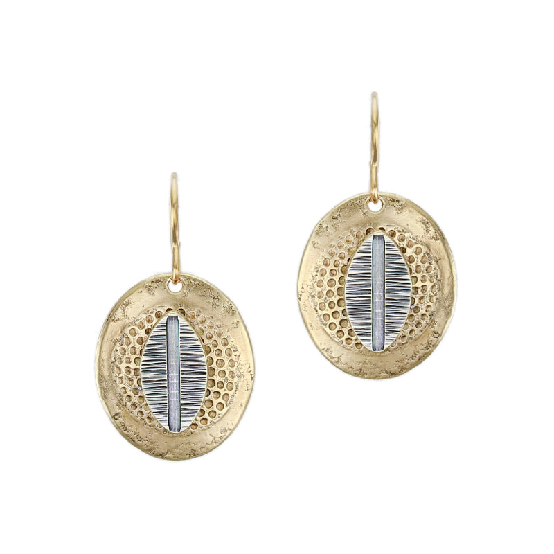 Patterned Leaf with Textured Oval Wire Earring