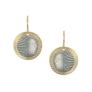 Layered Textured Discs Wire Earring