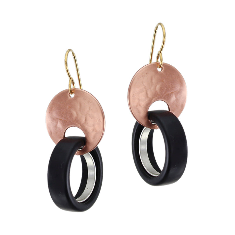 Cutout Disc with Black and Silver Rings Wire Earring