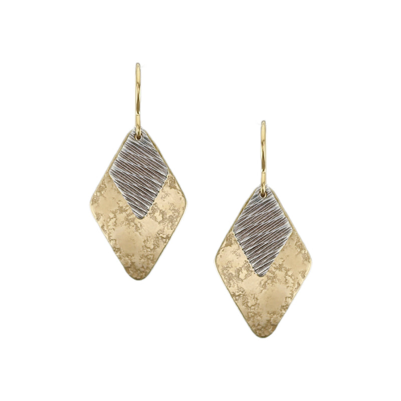 Layered Textured Diamonds Wire Earring