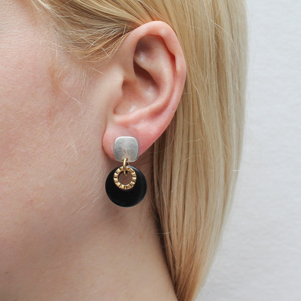 Rounded Square with Textured Ring and Black Cutout Disc Post Earring