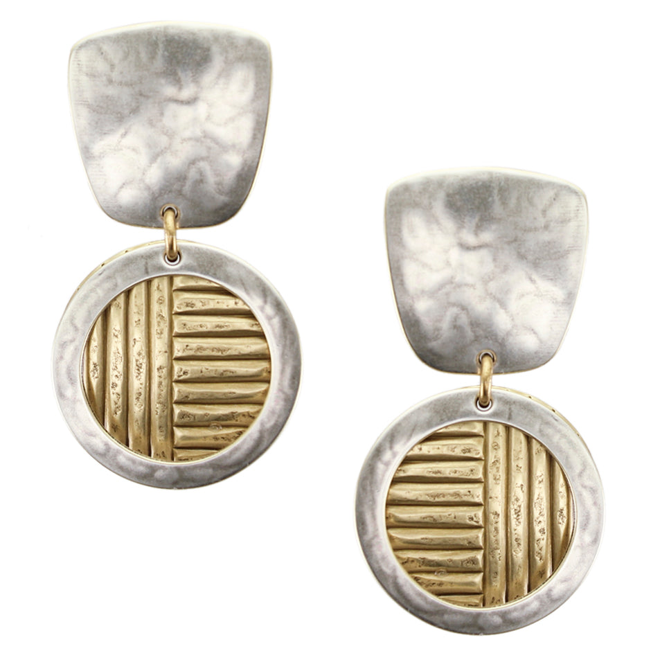 Tapered Square with Framed Textured Disc Post or Clip Earring