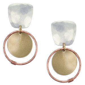 Tapered Square with Large Disc Ring and Wire Wrapped Accent Post or Clip Earring
