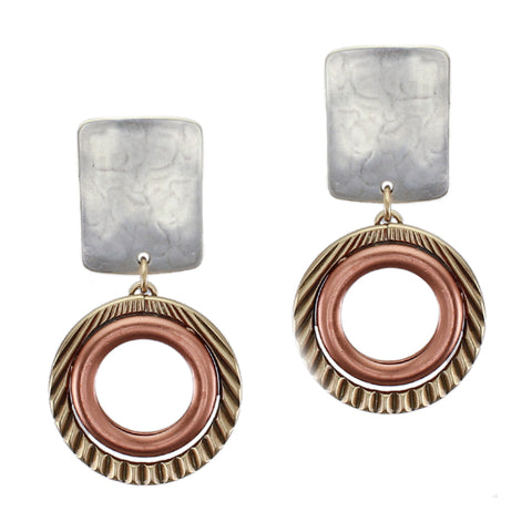 Rounded Rectangle with Textured and Smooth Rings Post or Clip Earring