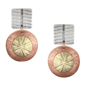 Textured Square with Layered Textured Discs Post or Clip Earring