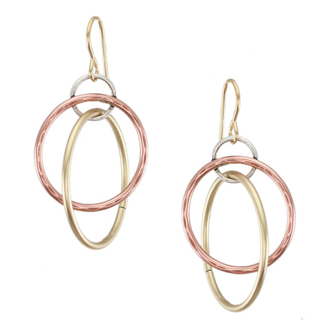Three Interlocking Wire Rings Earring