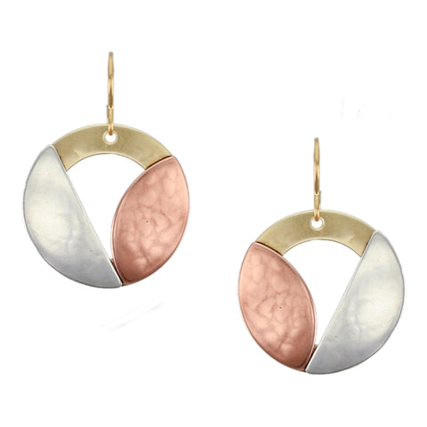 Cutout Disc with Semi Circle and Leaf Wire Earring