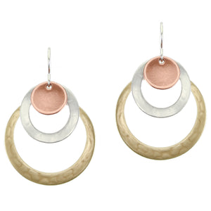 Rings and Dished Disc Layered Wire Earring