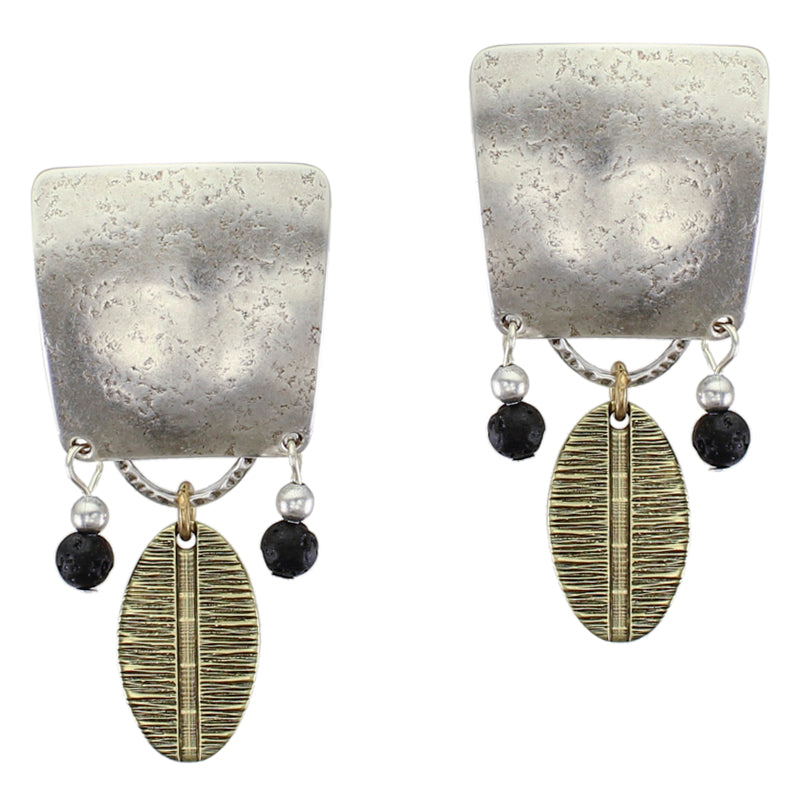 Large Textured Tapered Square with Beads and Patterned Oval Post or Clip Earring