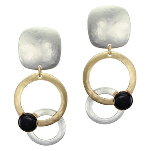 Large Rounded Square and Layered Rings with Black Cabochon Clip or Post Earring