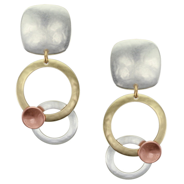 Large Rounded Square and Layered Rings with Disc Clip or Post Earring