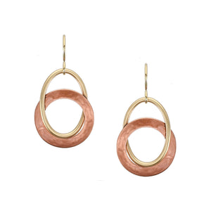 Ring with Perpendicular Interlocking Oval Wire Ring Wire Earring