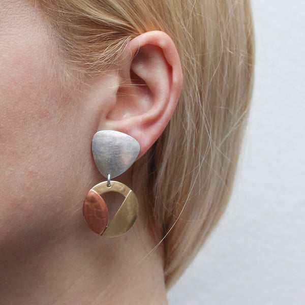 Rounded Triangle with Cutout Disc, Semi Circle, and Leaf Clip or Post Earring