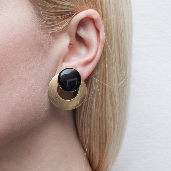Large Black Cabochon with Wide Ring Earring