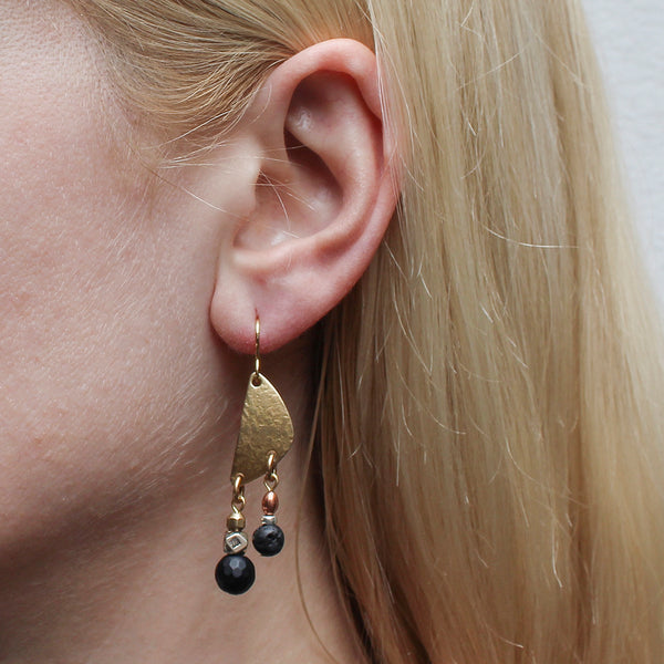 Textured Fin with Black and Metal Beads Wire Earring