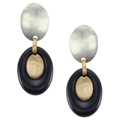 Domed Oval with Black Ring and Brass Domed Oval Post or Clip Earring