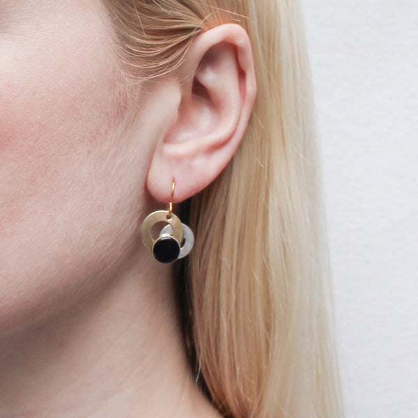 Small Layered Rings with Black Cabochon Wire Earring