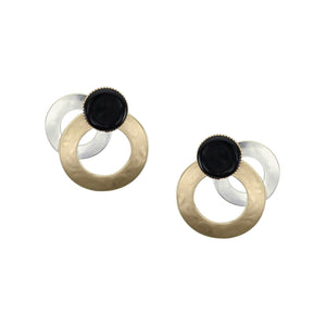 Medium Layered Rings with Black Cabochon Post Earring