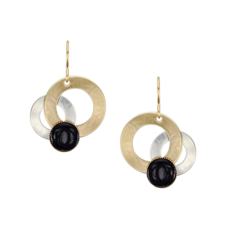 Medium Layered Rings with Black Cabochon Wire Earring