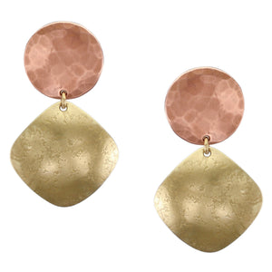 Medium Hammered Disc with Textured Rounded Square Post or Clip Earring