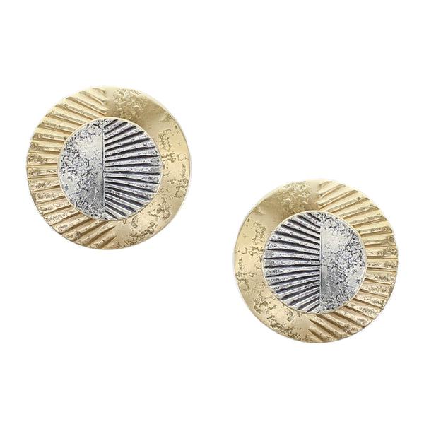 Layered Patterned Discs Post or Clip Earring