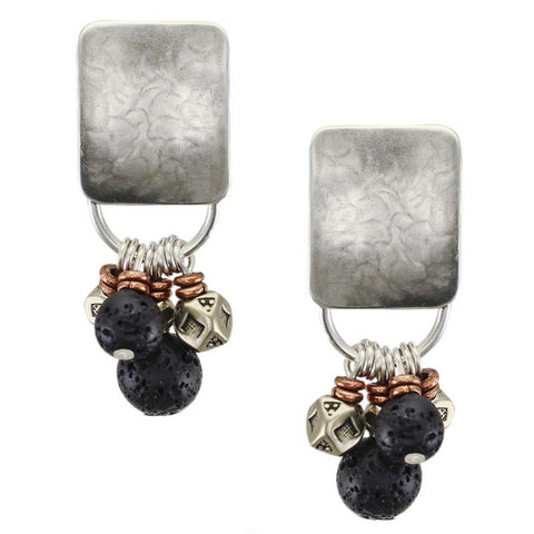 Rounded Rectangle with Textured Black and Metal Beads Post or Clip Earring