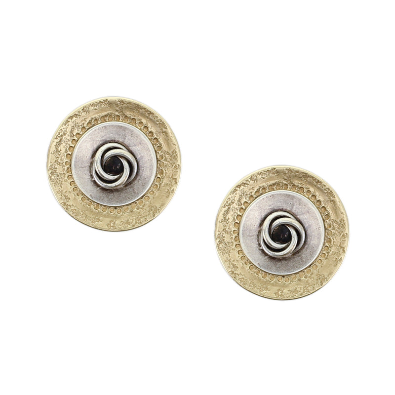 Layered Textured Discs with Knot Post or Clip Earring