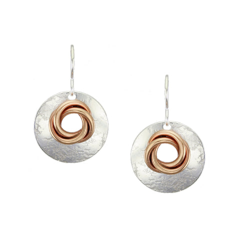 Cutout Disc with Knot Wire Earring