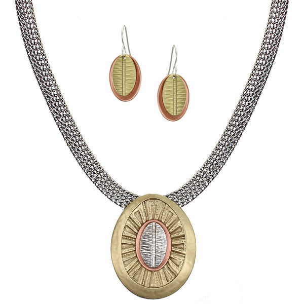 Layered Textured Ovals Matching Set - Necklace and Wire Earrings