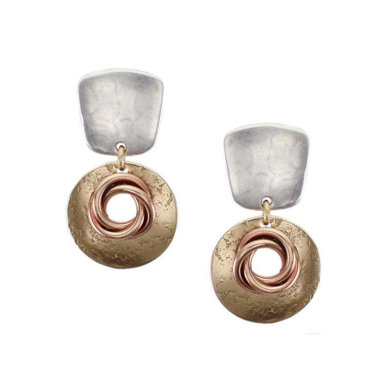 Tapered Square with Cutout Disc and Knot Post Earring