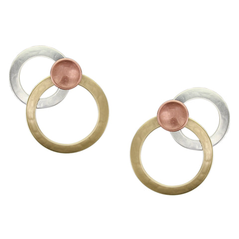 Large Layered Rings with Dished Disc Post Earring