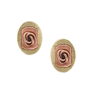 Oval with Rounded Rectangle and Knot Post or Clip Earring