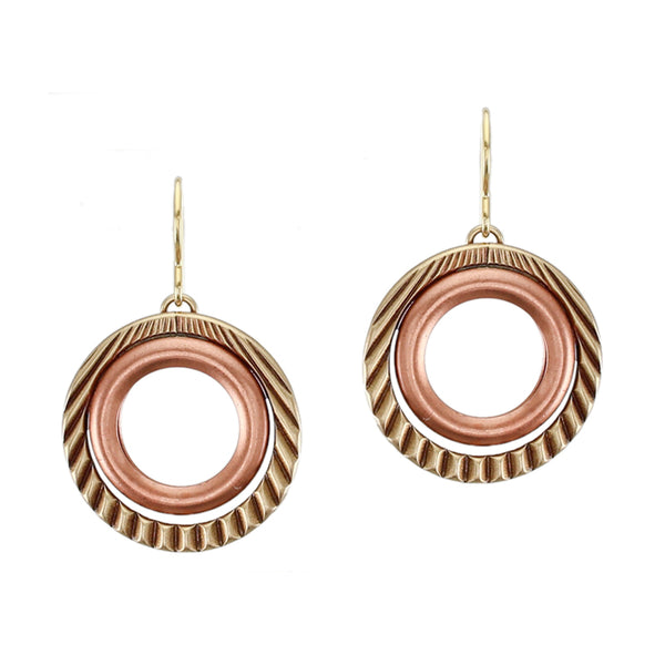 Textured and Smooth Rings Wire Earring