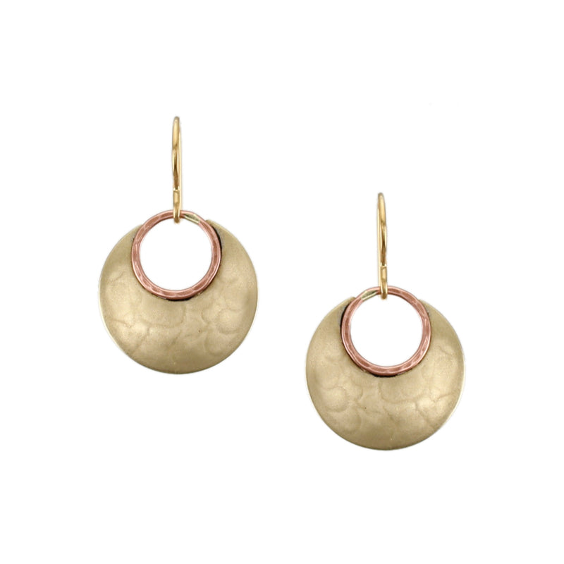 Small Cutout Disc with Hammered Wire Earring