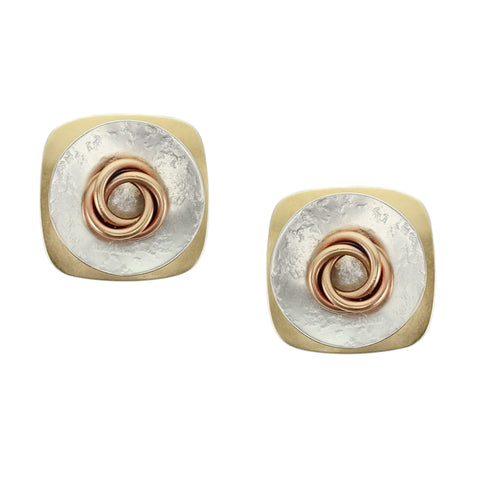Rounded Square with Textured Disc and Knot  Post or Clip Earring