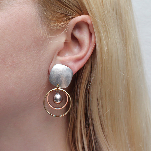 Rounded Square with Wire Ring with Rim and Bead Post or Clip Earring